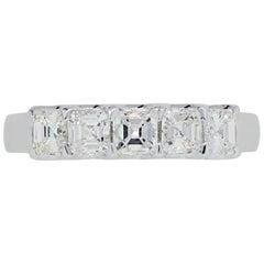 Asscher Cut 5 Diamond Wedding Band