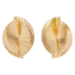 Tiffany & Co. 1960s 18 Karat Fluted Fan Motif Earrings