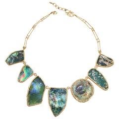 Coomi 20 Karat Gold Ancient Roman Glass Diamond Necklace