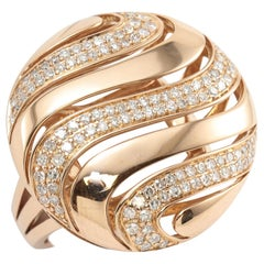 Diamond 14 Karat Rose Gold Dome Ring