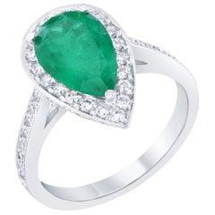 GIA Certified 2.56 Carat Emerald Diamond Engagement 18 Karat White Gold Ring