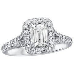 GIA Certified 1.01 Carat Emerald Cut Diamond Halo Engagement Ring