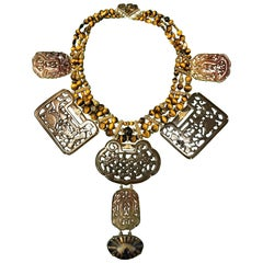 Tony Duquette Overscaled Eye Talisman Tiger's Eye Hard Stone Plaque Bib Necklace