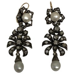 Antique Silver Topped Gold Diamond and Rare Natural Pearl Drop Earrings