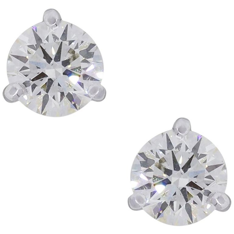 EGL Certified Round Brilliant Diamond Stud Earrings For Sale