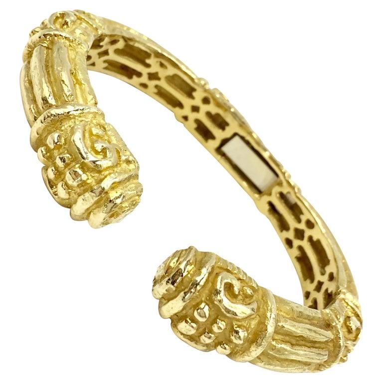 Carved 18 Karat Gold Cuff Bracelet by Katy Briscoe For Sale