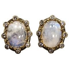 Tony Duquette 18 Karat Gold Moonstone and Diamond Large Ear Clips