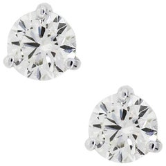 EGL Certified 2.45 Total Carat Weight Round Brilliant Diamond Stud Earrings