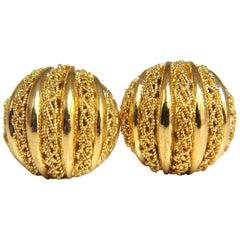 18 Karat Gold Half Ball Domed Lace Earrings