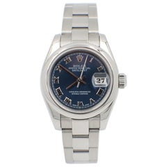Rolex Ladies Datejust 179160 Stainless Steel Blue Dial Box and Papers