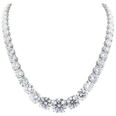 GIA Certified 64.76 Carat Total Weight Diamond Riviere Graduated Necklace