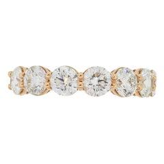Round Brilliant Seven Diamond Wedding Band