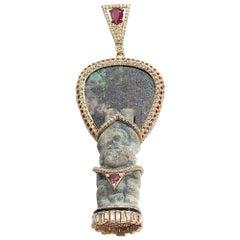 Coomi 20 Karat Gold Antiquity Diamond, Ruby, and Opal Pendant