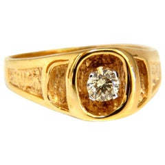 .40 Carat Natural Yellow Diamond Solitaire Men's Ring 14 Karat