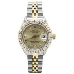 Rolex Ladies Datejust 6916 Diamond Dial Diamond Bezel 18 Karat Gold and Steel