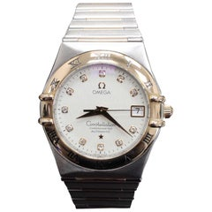 Omega Constellation 1304.35.00 Diamond 18 Karat Gold and Steel Box and Papers