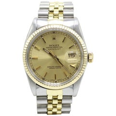 Rolex Datejust 16013 Champagne Dial 14 Karat Gold and Stainless Steel