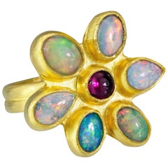 Stephanie Albertson 22 Karat Gold, Opal and Ruby Flower Ring