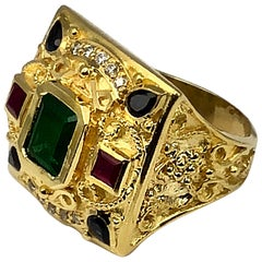 Georgios Collections 18 Karat Yellow Gold Ring With Emerald, Sapphires And Rubys