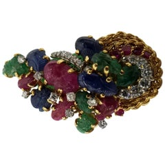 "18 Karat Yellow Gold ""Fruit Salad"" Kutchinsky Signed Brooch"