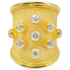 Georgios Collections 18 Karat Yellow Gold Diamond Ring in Byzantine Style