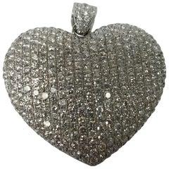 14 Karat White Gold Heart Shaped Diamond Pendant