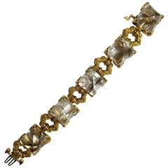 David Webb Rock Crystal and Gold Bracelet