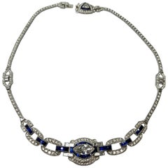 Signed Sophia D Platinum Necklace with Diamond and Sapphire