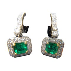 Colombian Emerald Earrings Approximate 1.60 Carat