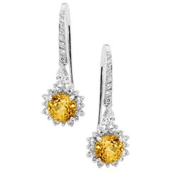 Yellow Sapphire and Diamond Drop Earrings