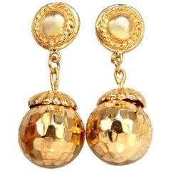 18 Karat Gold Dangle Ball Earrings