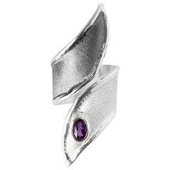 Yianni Creations 0.45 Carat Amethyst Fine Silver and Oxidized Rhodium Ring