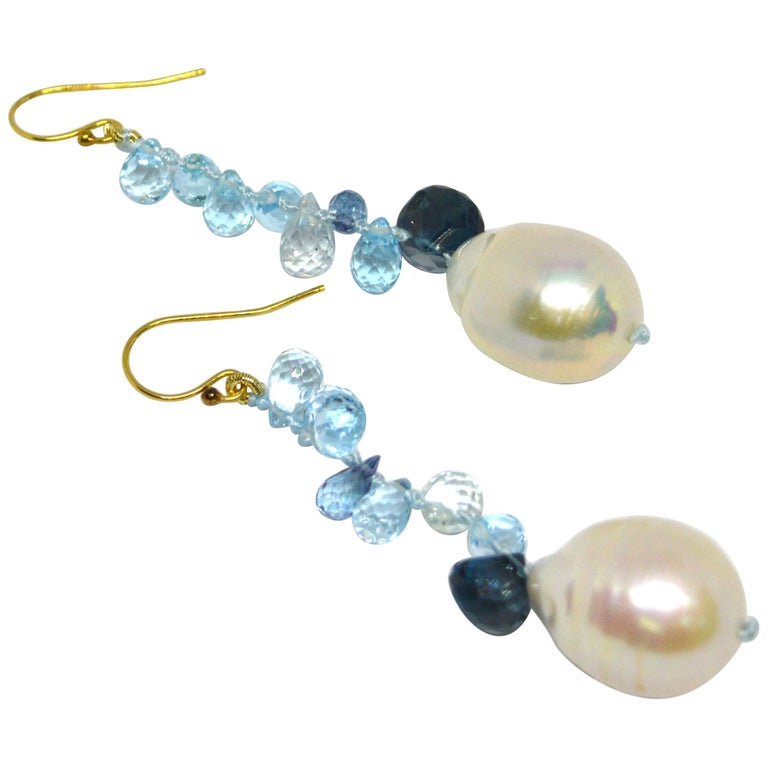 Decadent Jewels Blue Topaz London Blue Topaz Pearl Gold Earrings