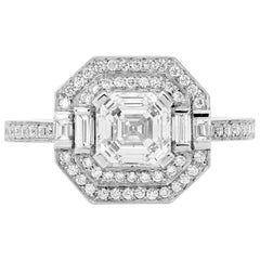 GIA Certified 1.31 Carat Asscher Cut Halo Diamond Platinum Engagement Ring