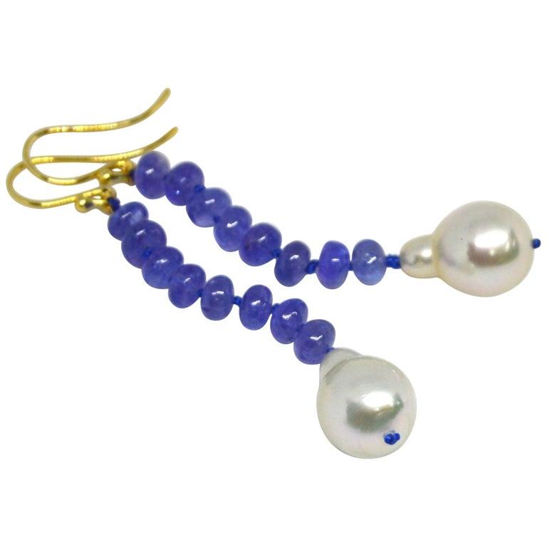 Decadent Jewels Tanzanite South Sea Pearl 9 Carat Gold Earrings