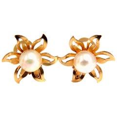 Japanese Pearl Earrings 18 Karat Two-Tier Star or Clip