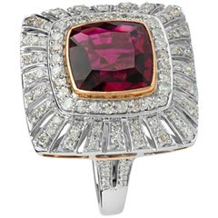 Zorab Creation 5.02 Carat Deep Pink Tourmaline Diamond The Biltmore Ring