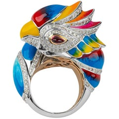 Zorab Creation Diamond and Red Sapphire Baby Parrot, 18-kt Gold Statement Ring