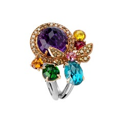 Zorab Creation, Multi-Gems Kaleidoscope Butterfly Cocktail Ring