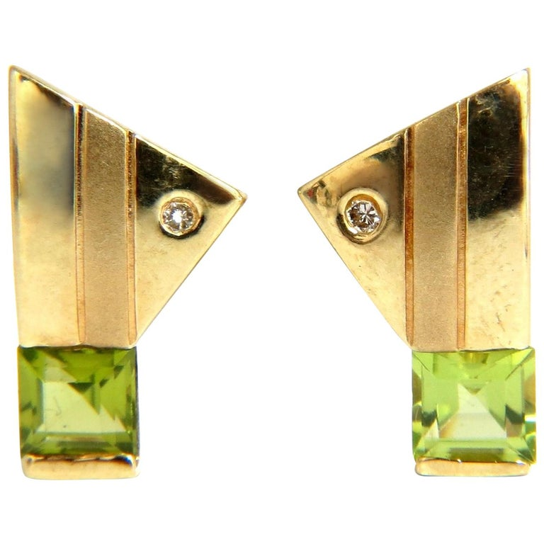 1.04 Carat Natural Asscher Cut Peridot Diamonds Modern Earrings 14 Karat For Sale