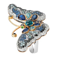 Zorab Creation Blue Sapphire Glide Butterfly Ring
