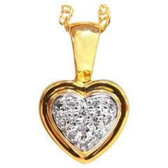 .10 Carat Natural Diamonds Heart Necklace 14 Karat Yellow Gold
