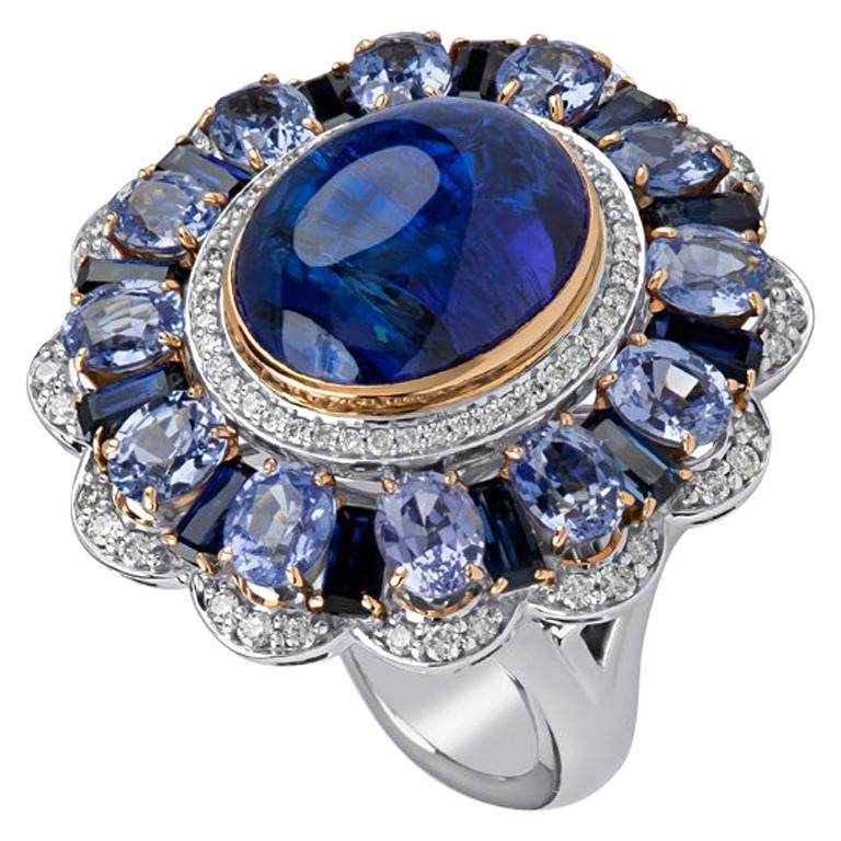 Zorab Creations Tanzanite 9.27 Carat and Sapphire 7.62 Carat Wreath Ring For Sale