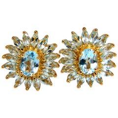 5.00 Carat Natural Blue Topaz Cluster Earrings 14 Karat