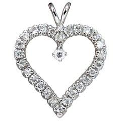 .50 Carat Diamond Heart Pendant 14 Karat