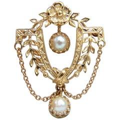 14 Karat Vintage Pearl Medallion Pendant Pin