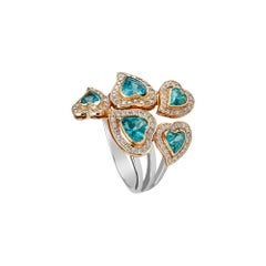 Zorab Creation Apatite and White Diamond Five Heart Ring