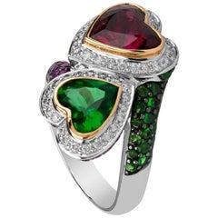 Zorab Creation Apetitie Tsavorite Diamond  Holiday Twin Heart Ring