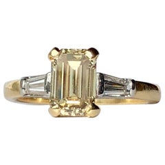 Fancy Yellow Diamond Emerald Cut 1.01 Baguette Shoulder Engagement Ring 18k Gold