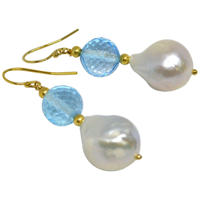 Decadent Jewels Blue Topaz Baroque Pearl Gold Earrings